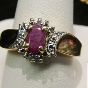 Real ruby and gold tone ring size 8